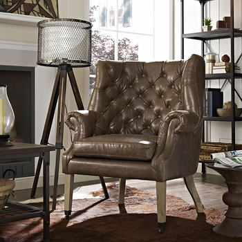CHART FABRIC LOUNGE CHAIR IN BROWN