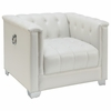 Chaviano Low Profile Pearl White Tufted Chair