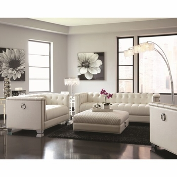 Chaviano Low Profile Pearl White Tufted Sofa