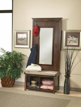 Hall Tree With Mirror Umber And Tan 900803