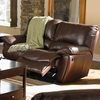 Clifford Brown Leather Double Reclining Love Seat