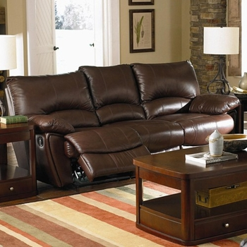 Clifford Brown Leather Double Reclining Sofa 600281