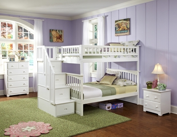 Columbia Staircase Full/Full White Bunk Bed Children Bedroom Furniture