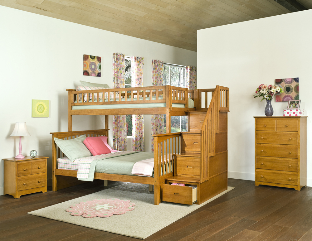 Columbia Staircase Twin Full Bunk Bed Children Bedroom Furniture