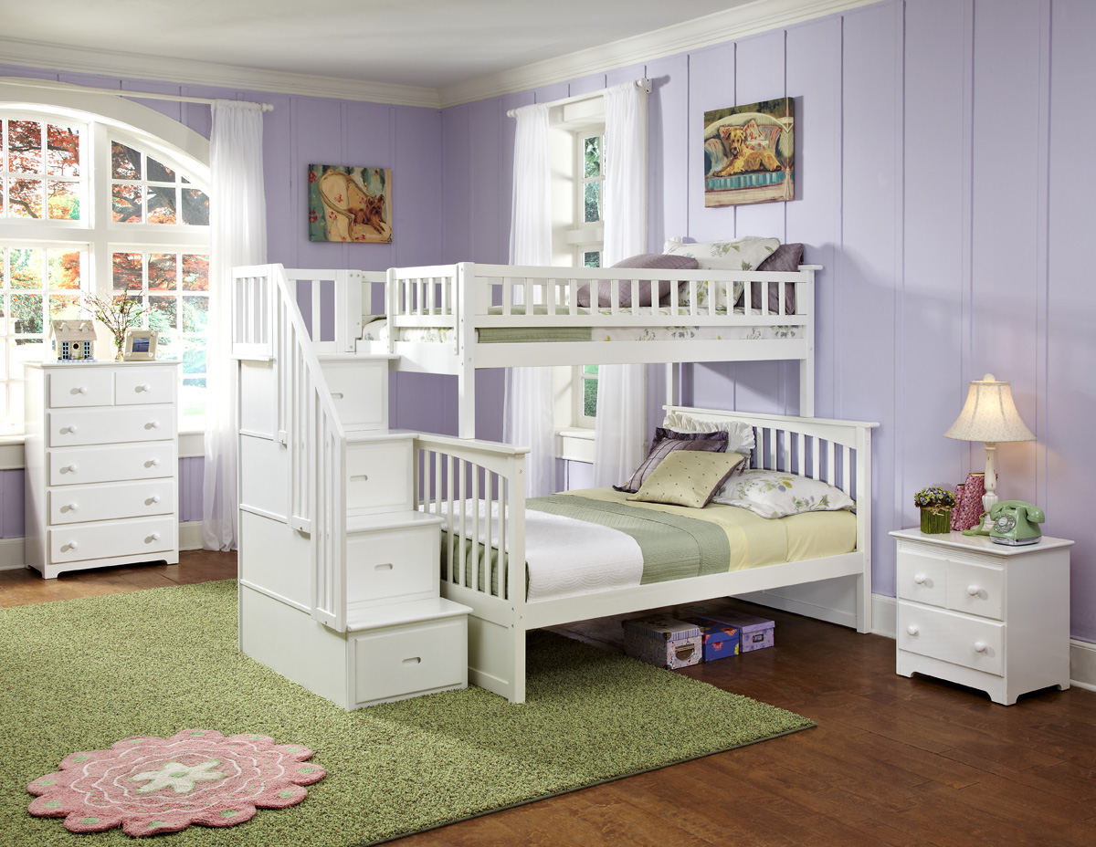 Modern Columbia Staircase Twin Full White Bunk Bed Youth Bedroom Atlantic Furniture