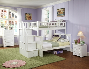 Columbia Staircase Twin/Full White Bunk Bed Children Bedroom Furniture