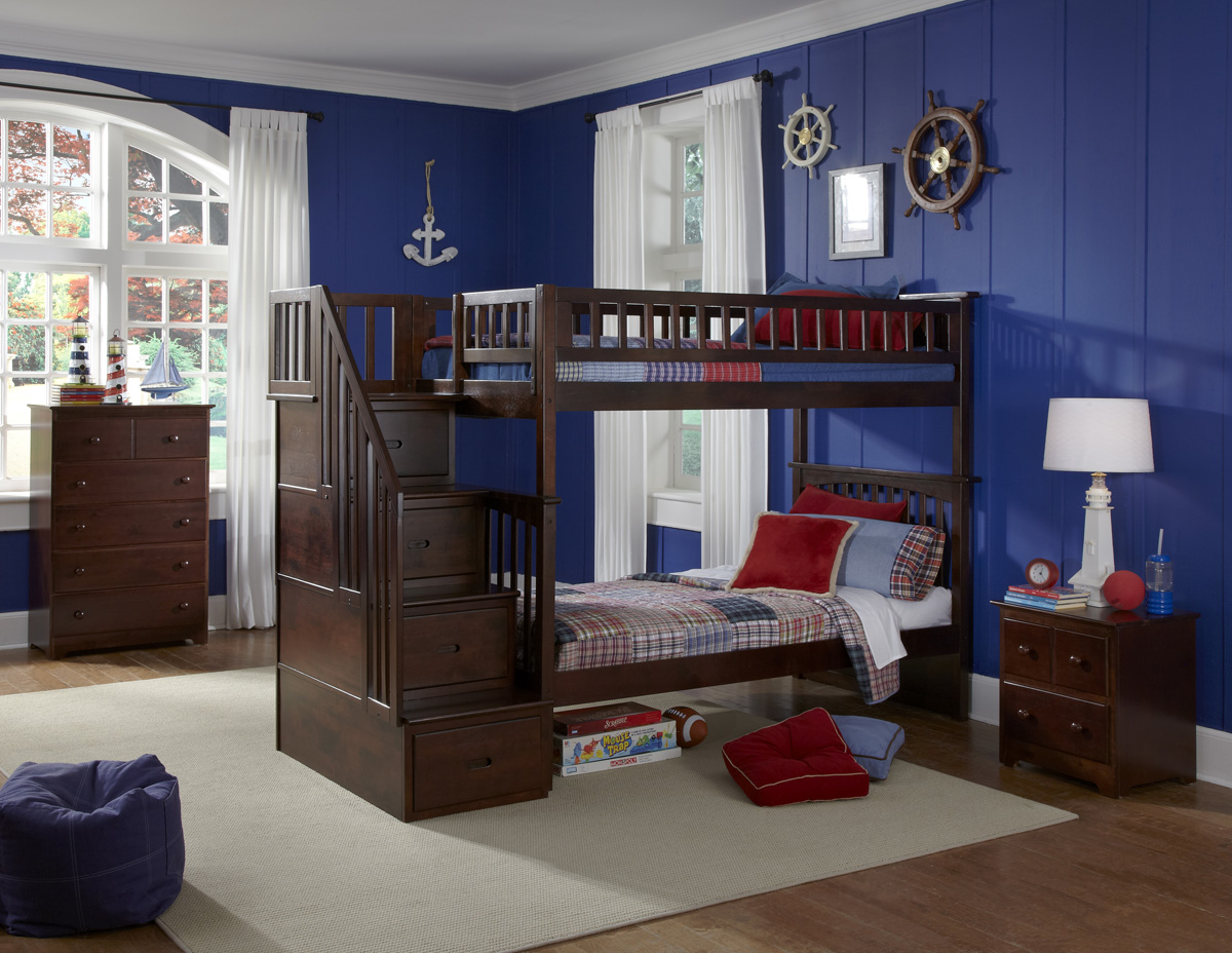 Modern Columbia staircase TwinTwin Bunk Bed Youth Bedroom Atlantic