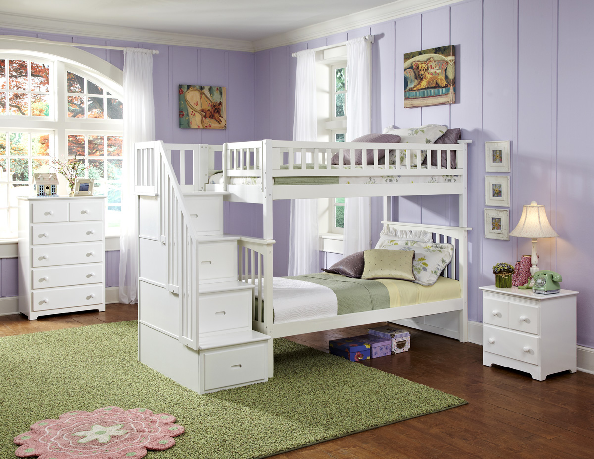 Modern Columbia Staircase Twin Twin White Bunk Bed Youth Bedroom Atlantic
