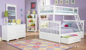 Columbia White Twin/Full Bunk Bed Youth Bedroom Furniture storage optional