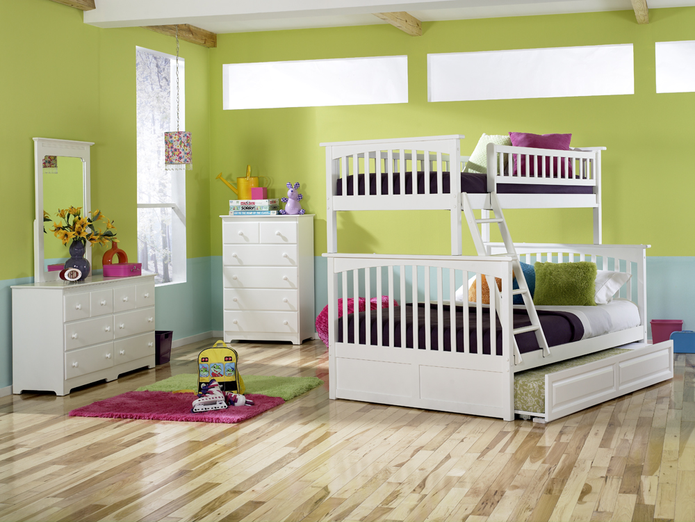 Modern Columbia White Twin Full Bunk Bed Youth Bedroom Atlantic Furniture
