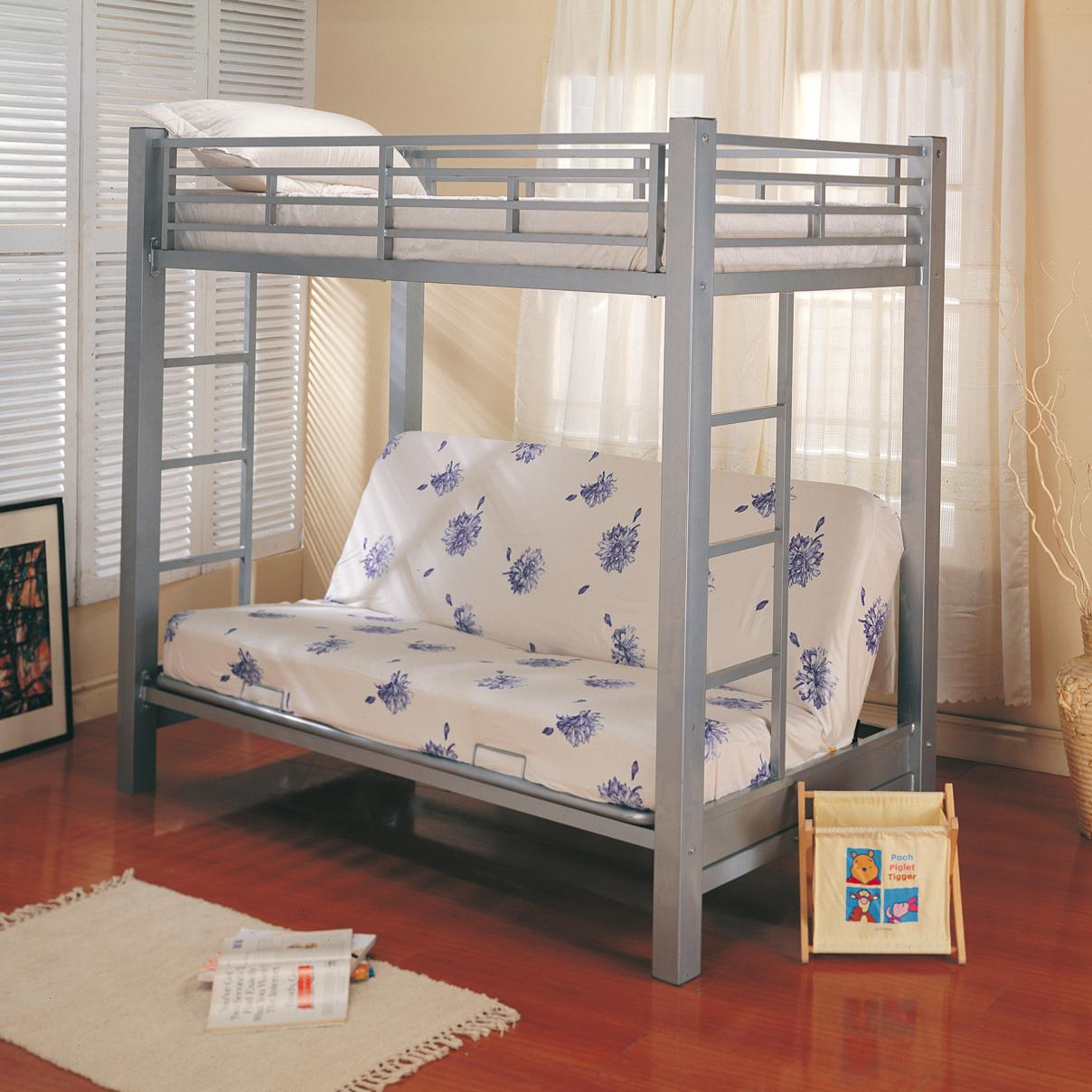Modern Bunks Twin Over Futon Metal Bunk Bed