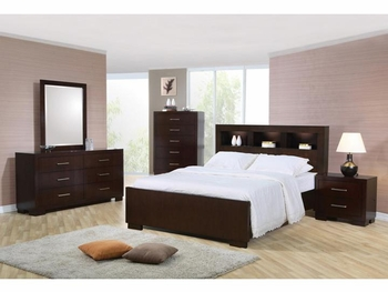 Contemporary 4 PC Jessica Queen Bedroom with Storage Headboard and Built in Lighting