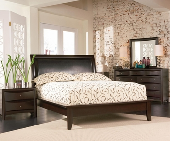 Contemporary 5 PC Phoenix Queen Platform Bedroom with Vinyl Panel Headboard