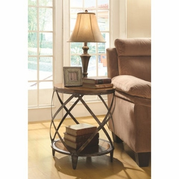 Contemporary Metal Accent Table with Drum Shape