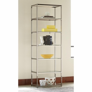 Contemporary Metal Bookcase with Glass Shelves 801017