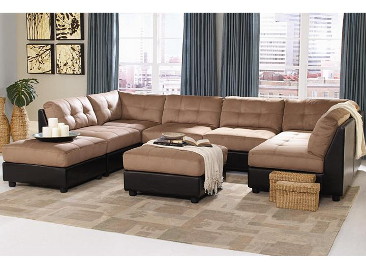 Beau Contemporary Modular Claude Two Tone Sectional 4 Chairs, 2 Corners, 2  Ottomans