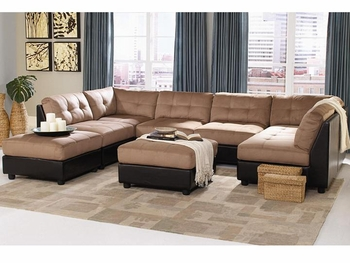 Contemporary modular Claude Two Tone Sectional 4 Chairs, 2 Corners, 2 Ottomans