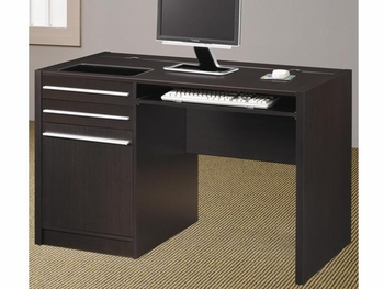 Contemporary Ontario Single Pedestal Computer Desk with Charging Station
