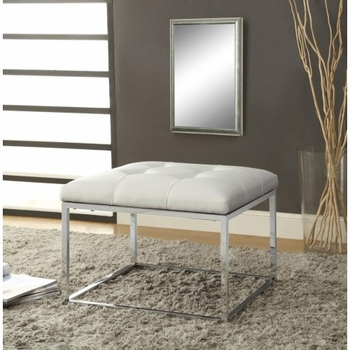 Upholstered Tufted Ottoman White And Chrome #500423