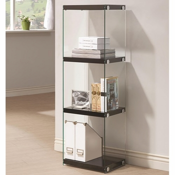 Contemporary Three Shelf Bookcase with Glass Shelves and Side Panels