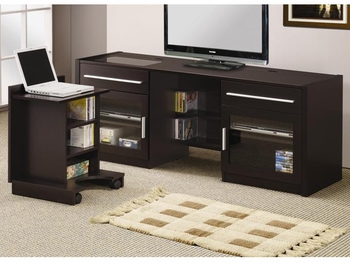 Contemporary TV Console with Hidden Rolling out Mobile Computer Caddy