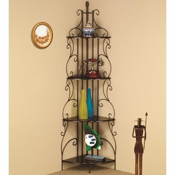 Copper Finished Corner Rack with 4 Shelves