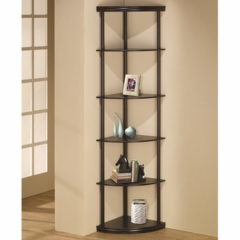 Corner Bookshelf in Dark Finish