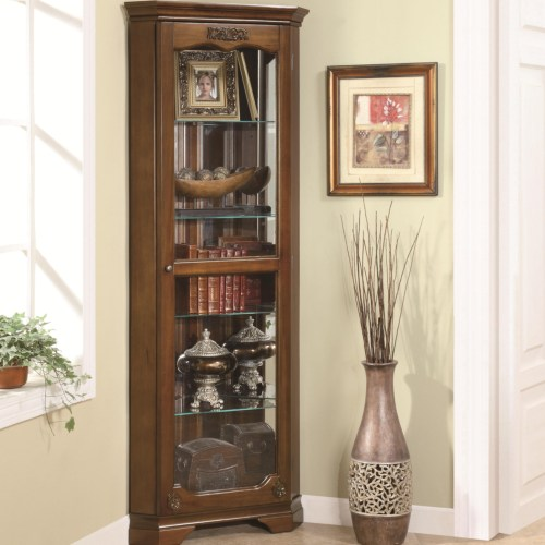 Curio Cabinets 5 Shelf Corner Curio With 1 Door U0026 Acanthus Leaf Top