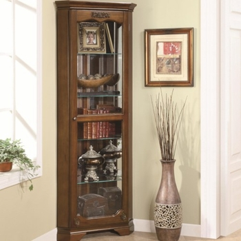 Curio Cabinets 5 Shelf Corner Curio with 1 Door & Acanthus Leaf Top