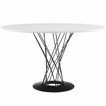 CYCLONE WOOD TOP DINING TABLE IN WHITE
