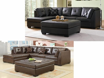 Darie Leather Sectional Sofa with Left-Side Chaise