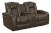 Delangelo Casual Power Reclining Love Seat with Cup Holders, Storage Console and USB Port