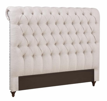 Devon Queen Rolled 300525QB1 Headboard in Beige Fabric