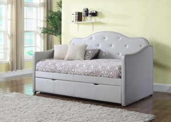 Upholstered Twin 300629 Daybed With Trundle Pearlescent Grey