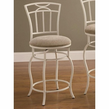 "Dining Chairs and Bar Stools 24"" White Metal Barstool with Upholstered Seat"