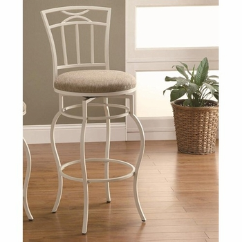 """Bar Stools 29"""" White Metal Barstool with Upholstered Seat"""