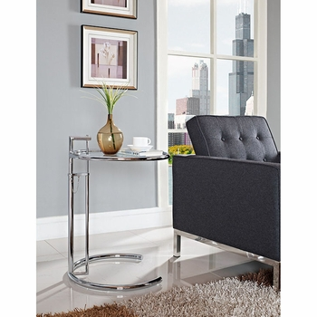 EILEEN GRAY SIDE TABLE IN SILVER