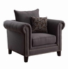 Emerson Transitional Rolled Arm Chair with Pewter Nailheads
