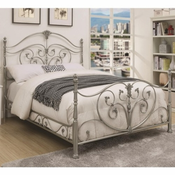 Evita Queen Metal Bed with Elegant Scrollwork