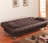 Faux Leather Convertible Sofa Bed with Removable Armrests