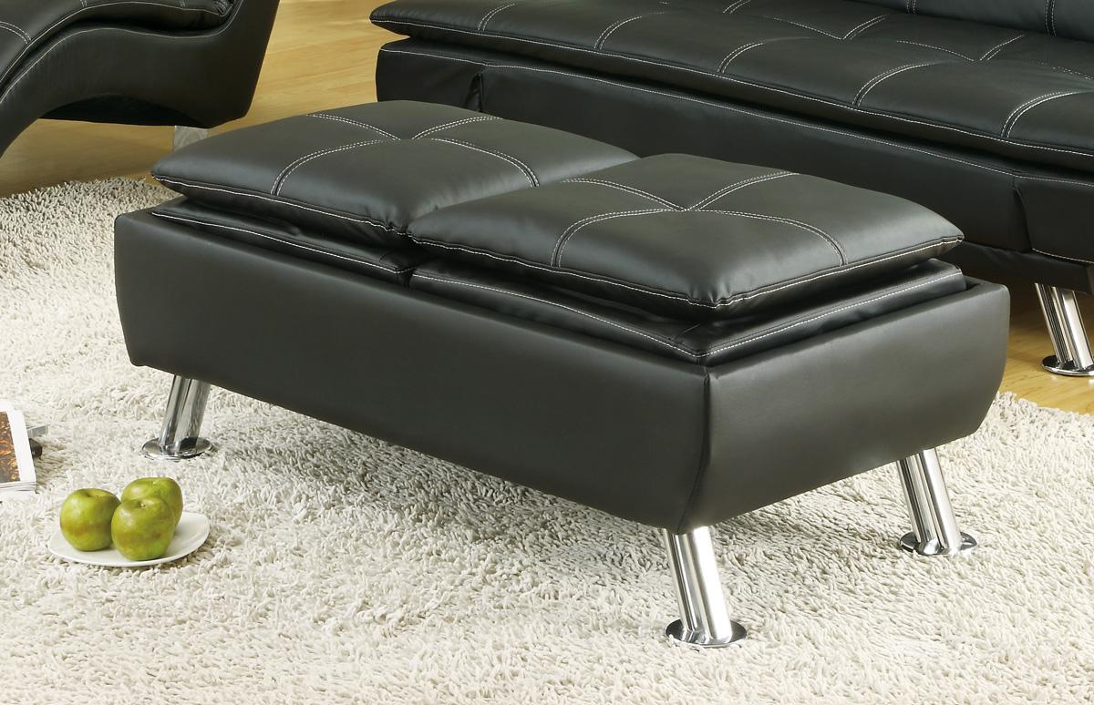 Exceptional Faux Leather Ottoman With Reversible Tray Tops