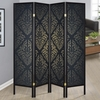 Folding Screens Four Panel Folding Floor Screen with Black Finish & Gold Tone Damask Print