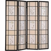 Folding Screens Four Panel Folding Floor Screen with Floral Motif