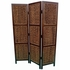 Folding Screens Three Panel Folding Floor Screen with Woven Banana Leaf Panels