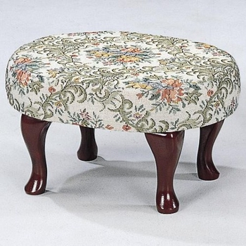 Foot Stools Cherry Finish Upholstered Foot Stool with Shapely Legs