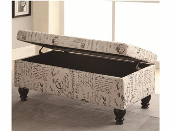 French Script Storage Bench