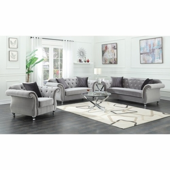 Frostine Glamorous Sofa with Crystal Button Tufting 551161