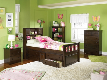 Full Captain's Bed Bookcase with Four Drawers Storage Youth Furniture