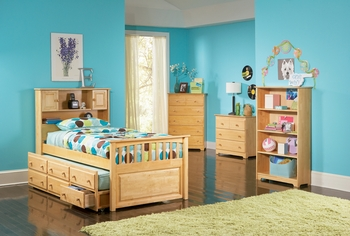 Full Captain's Bed Bookcase with Three Drawers Storage and Trundle