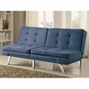 Futons Contemporary Blue Microfiber Sofa Bed with Split Back